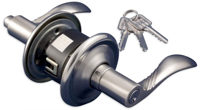 Brushed aluminium french door knob with keys.