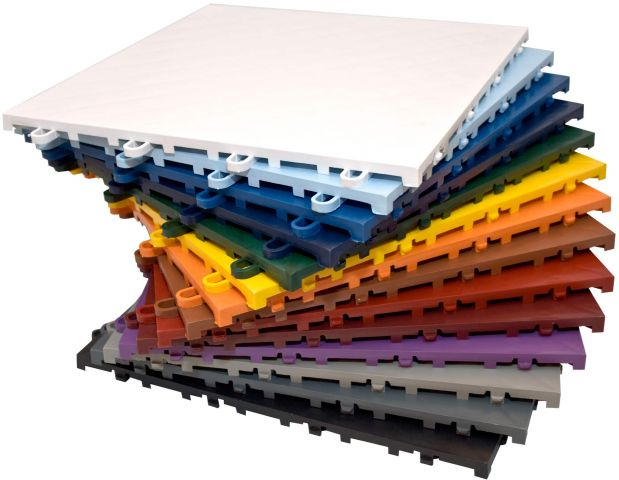 A multi-colour stack of Flexcourt brand